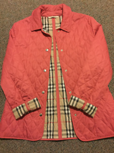 BURBERRY London Diamond Quilted Women's Jacket Size S Small Rose