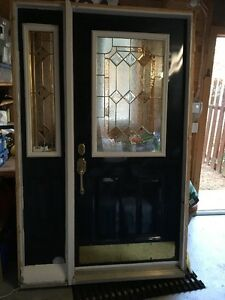 Steel Front Door Entrance system with sidelight & door hardware
