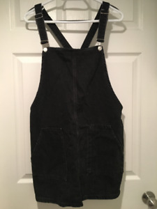 Topshop MOTO Black Denim Overall Dress With Pockets