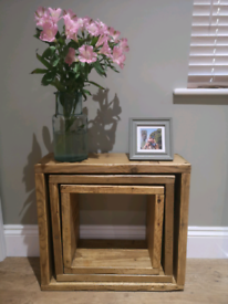 Rustic nest of box tables / side table