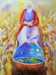 Biblical earth , creation watercolors, pet and people paintings