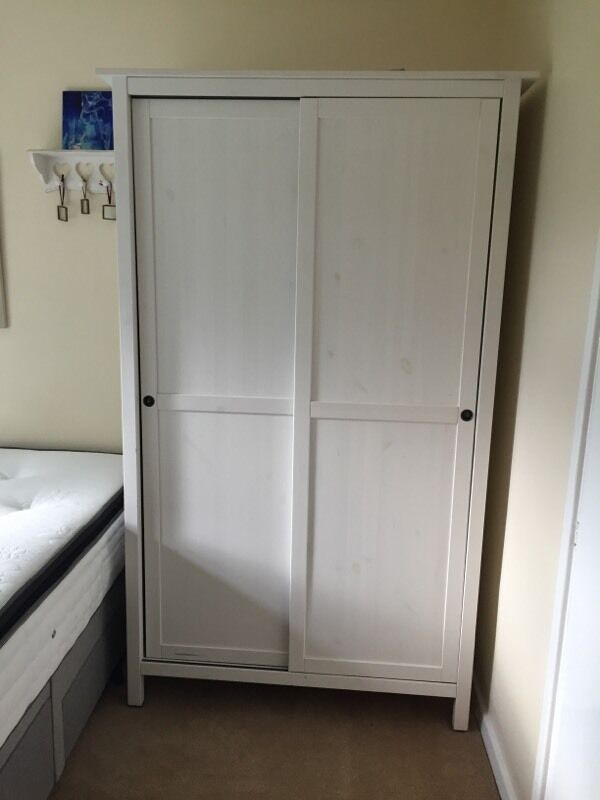 white ikea hemnes wardrobe 2 sliding doors in plymouth devon