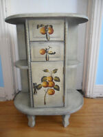 Antique Hand Painted night table - fruit and grape design