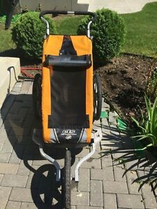 Chariot jogging stroller with bike attachment