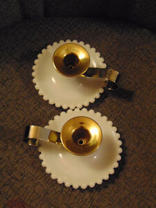Candlewick milk glass candle holders