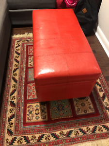Red Leather Ottoman, Size 36 inch X 17 inch