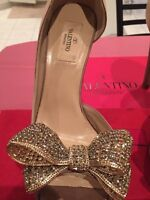 FOR SALE: GENTLY USED VALENTINO SATIN JEWELED BOW d'ORSAY PUMPS