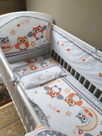 Bedding 4 pieces set Owl for cotbed 140x70 cm. All round bumper