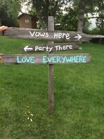 Wedding decorative signs - barn wood and chalk boards