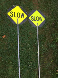 2 Slow/Stop handheld signs for traffic control