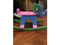 Blue and Pink Rocking Elephant