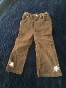 24 month / 2T flower cordory pants