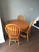 Circular Oak Table, Chairs, and leaf