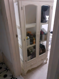 SOLD!!@ - SHABBY CHIC/ FRENCH STYLE, DISTRESSED LOOK GLASS CABINET