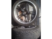"17"" 4x100 wolfrace alloy wheels with 2 good tyres all good condition"