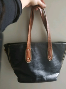 Large black and brown purse