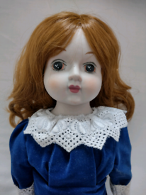 Vintage 18 Inch Porcelain Doll as original. Viewing on garden table!!