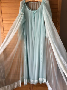 Vintage Sheer Nylon Chiffon Peignoir Set - Aqua Blue - JC Penny