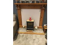 Solid pitch pine fire Surround + Electric Fire