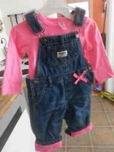 Size 12 month fleece lined overalls & Shirt