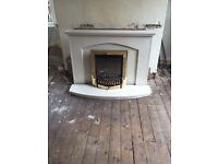 Electric fire and heavy good quality stone surround- fitted but never used! £400 new!