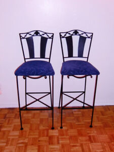 2 Wrought Iron Bar Stools