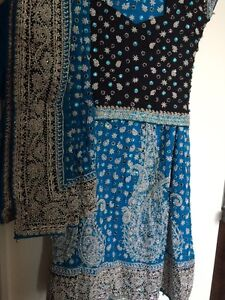 Indian bridal lengha - aqua blue and black