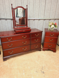Beautiful large dresser with 6 drawers and matching mirror and beside
