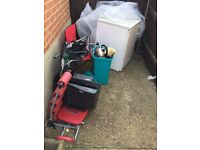 Chest Fridge, Camping Chairs, AB Exerciser, kettle etc.