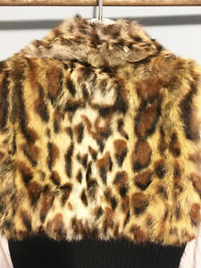 GUESS Leopard Genuine Real RABBIT FUR VEST w/ Leather, Size S London Ontario image 7