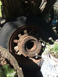 Old good year wooden rim tire