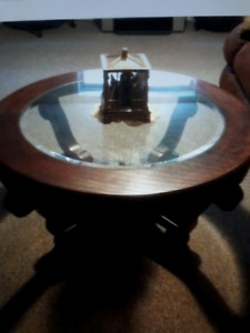 Beautiful round wood and glass coffee table