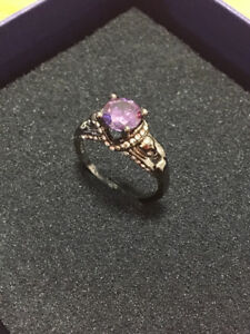 Black Gold Amethyst Ring 16KT