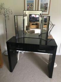 Black glass finish dresser and mirror