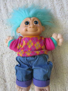 "VTG Russ13"" DRESSED Teal Hair/ Blue Eyes/Pink Sweater Troll Doll"
