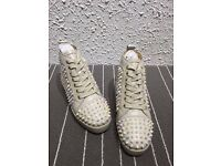 christian louboutin Beige leather Bright rivet high top sneaker shoes no adidas nike yeezy