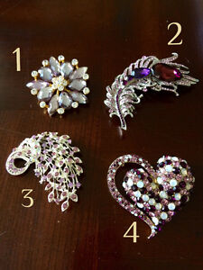 Beautiful crystal and enamel brooches - various sizes