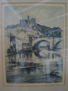 "Malte Sterner ""Richmond Castle"" Signed/Titled  Dry Point Etching"