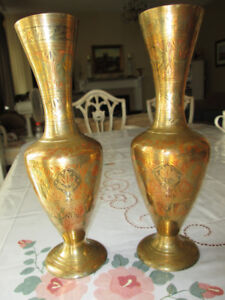$70 for 2 Antique Brass Vases-Hand Etched Designs w/ Colour