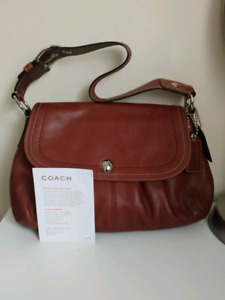 Coach Soho Brown Leather Pleated Flap Shoulder Bag F13729