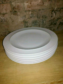 6 x White Denby Extra Large plates