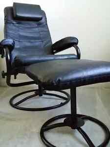 Black Leather Chair & Ottoman Set