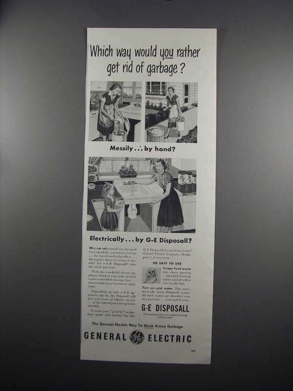 1951 G.E. Disposall Garbage Disposal Ad - Which Way?