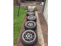 "BMW e39 m5 alloy wheels, set of 5, good tyres 5x120 18"""