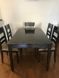 Espresso wood 6 chair dining room table