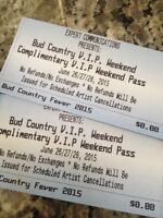 Bud country Fever VIP weekend passes