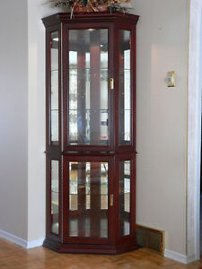 Cherry Wood Corner Wall Display Cabinet Hutch Unit