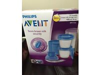 Avent milk storage cups NEW