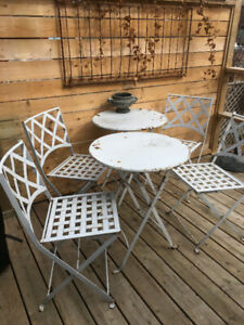 2 Vintage French Wrought Iron Bistro Sets