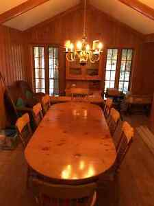 Pine dining room table, 8 chairs, china cabinet